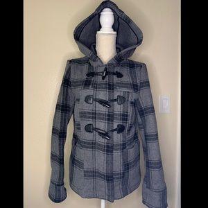 Aeropostale Black and Grey Wool Hooded Coat
